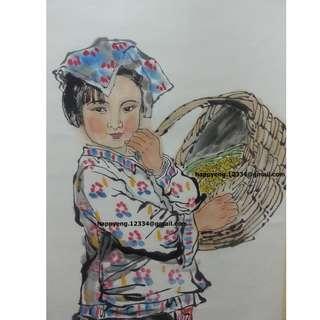 中国当代著名国画大师刘文西先生真迹之作 [ 陜北小姑娘 ] 欢迎坚定 古畫