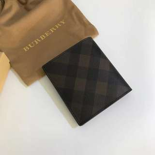 Burberry Check Wallet Purse 啡色帶相位短款銀包