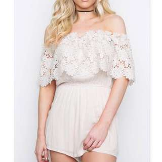 Embroidered Lace Off Shoulder