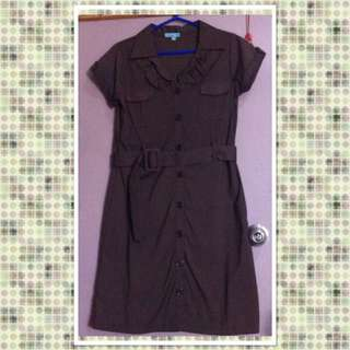 Brown Casual Dress With Belt