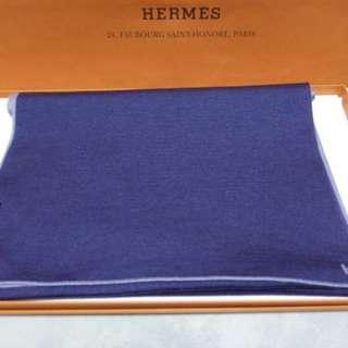 Hermes Scarf Aller Retour, Cashmere 70% and silk 30%, Bleu Gris/Ocean 灰色拼深藍色,size 30 x 180cm 男女合用,Full set with copy receipt