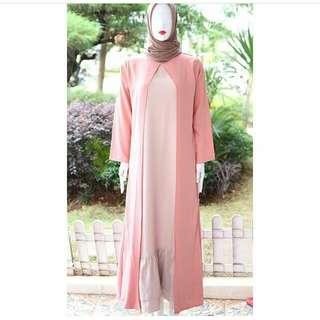 Long dress aweda layer, bawah undak rempel