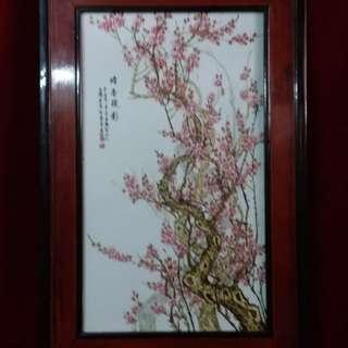 """梅花  - 纷彩梅花瓷板画 - 中国称"""" 梅花大王""""名画家王鹤亭代表作。"""