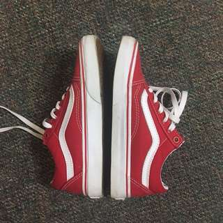 Red Vans Canvas Old Skools (size 6)