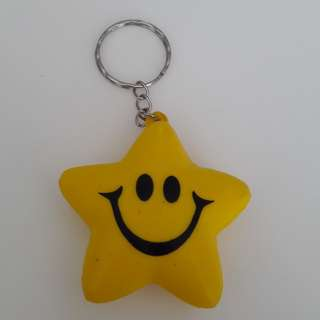 Squishy Smiley Star Keychain