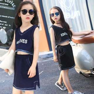 kid's Wear Denim Cotton Top & Skirt Terno