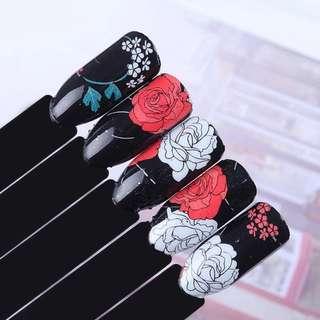 12Pcs 1 Sheet Rose Nail Wraps Elegant Peony Flower Full Stickers Manicure Nail Art Sticker Nail Decoration Water Sticker