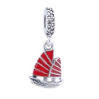 Red Junk Ship Yacht Charm