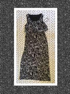 Black & White Print Maxi Dress Size 10