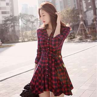 Checked Long Sleeve Skater Dress