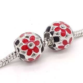 Red And Black Flower Bead Charm