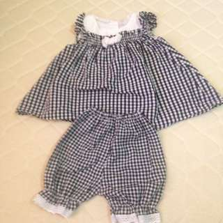 Terno checked blouse and shorts