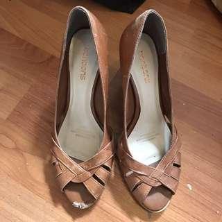 Womens Bonbons Size 7.5 Leather Peep toe Heels