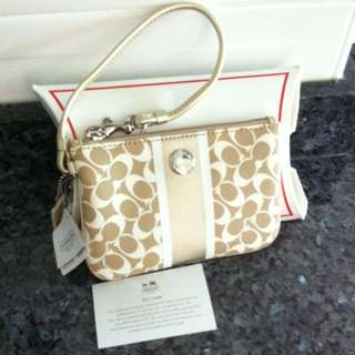 Brand New With Tag Gold Coach Wristlet