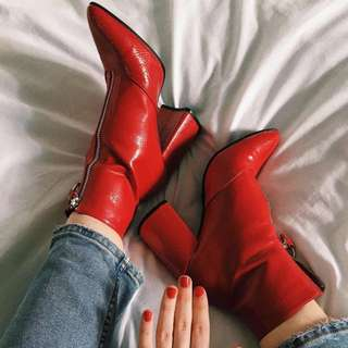 Miss Selfridge Red High Heeled Boots