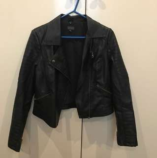 Black artificial leather jacket
