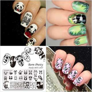 BORN PRETTY Cute Panda Image Rectangle Nail Stamping Plate Manicure Animal Nail Art Image Template Stamp Nailsv BPX-L015