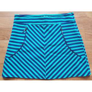 Skirt green / dark blue striped by ZARA Collection