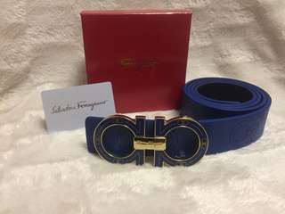 New Blue Ferragamo leather belt