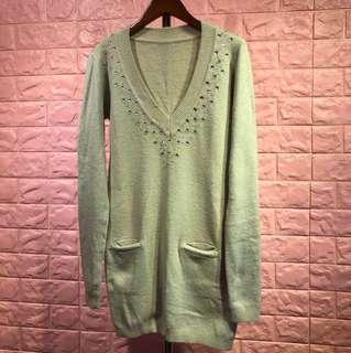 🚚 灰色針織羊毛長版上衣