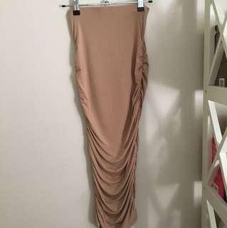 Silky Nude Midi Skirt