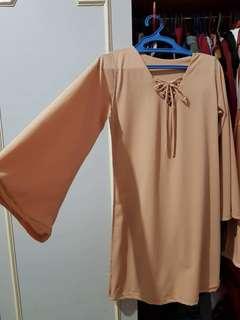 Long Sleeved Crossed String Dress