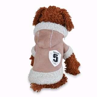 88雜貨鋪 寵物衣服 新款加厚羊羔絨仿麂皮連帽機車夾克兩腳衣 貓狗衣服 馬爾濟斯/貴賓/博美/吉娃娃