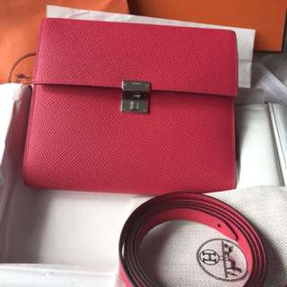 Hermes Clic 16 WOC, i6 Rose Extreme 桃紅色,Epsom Leather, Full set with original receipt