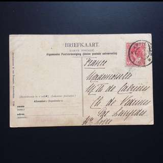 Post Card with Stamp - Nederland 1900s - Vintage Briefkaart Postcard with Nederland Dutch East Indies Stamp chopped dated 1906 (rare)