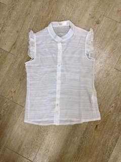 Sheer chiffon ruffled sleeve blouse