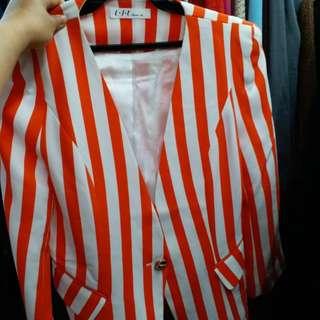 🚚 紅白條文西裝外套