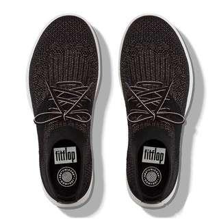 FitFlop ÜBERKNIT™  Slip-On High-Top Sneakers | Black Bronze Metallic | US Women's Size 5,6,6.5,7,7.5,8,8.5,9,10,11