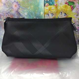 全新Burberry黑色格紋化妝袋 cosmetic bag pouch in black 化妝包