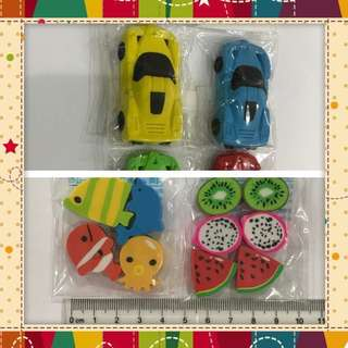 Erasers - Cute Car Fruits Fish Octopus erasers