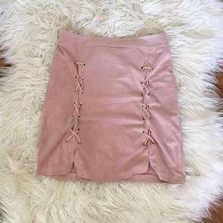 Pink Suede Velvet Skirt S 6 8