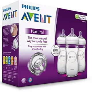 AUTHENTIC Philips AVENT BPA Free Natural Glass Baby Bottle 8 Ounce / 240 ml (Pack of 3)