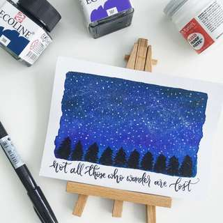 Wanderlust watercolor calligraphy card