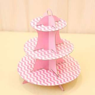 Pink Zigzag 3 Tier Cardboard Cupcake Stand (Jurong)