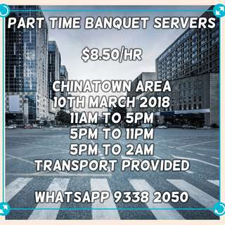 Part-Time Banquet Servers ($8.50/hr)