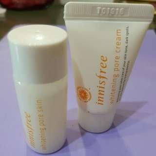 Innisfree whitening pore samples