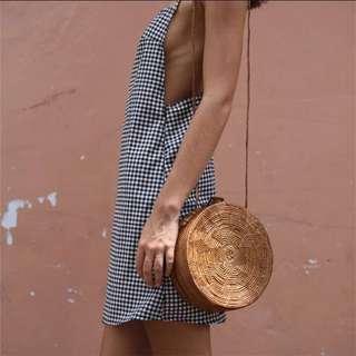 backless plaid checkered short dress