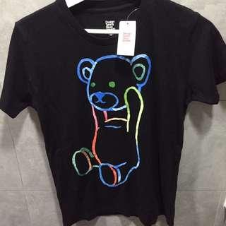 全新連牌control bear 螢光彩色tee from Japan
