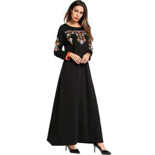 Floral Embroidery Long Sleeve Maxi Dress