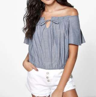 Off the shoulder chambray top BOOHOO