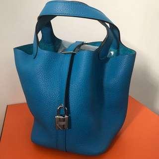 Hermes Picotin 22cm, B3 Blue Zanzibar 銀扣,Full set with original