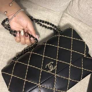 Chanel 米白x黑車線 vintage flap