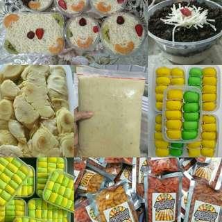 Salad buah, gandum goreng, pancake durian