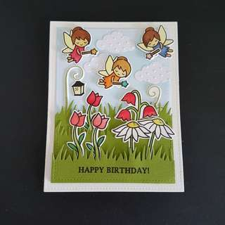 Birthday Card, 3 fairies.