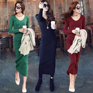 Knitted Long Sleeve Midi/Maxi Bodycon Dress Plus Size Available