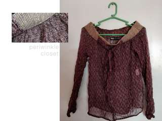 Laced Maroon See Through top (preloved clothes)